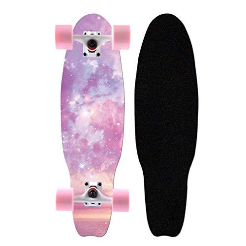 XXL Skateboard Complet 27 Pouces Mini Cruiser Skateboard 7 Couches de Bois D'érable Planche à roulettes, pour Les Débutants Adolescents Adultes Filles Garçons