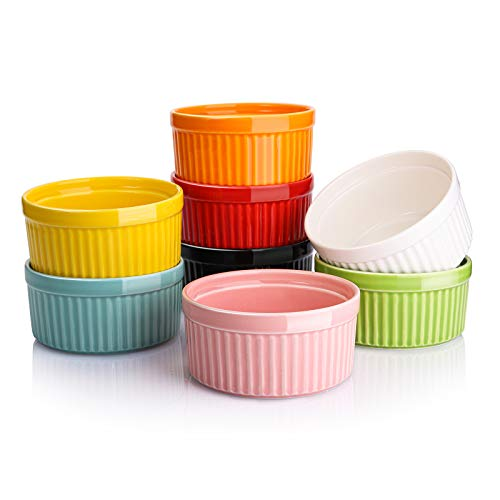 Suwimut Set of 8 Ceramic Ramekins for Baking, 6 OZ Porcelain Ramekins Souffle Dishes for Serving Souffle, Creme Brulee and Ice Cream, Oven Safe, Multi Colored Interior