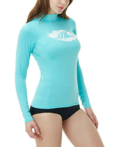 TSLA Women's UPF 50+ Rash Guard Long Sleeve, Water Beach Surf Swim Shirts, UV/Sun Protection Swimwear, Basic Print Aqua, Large