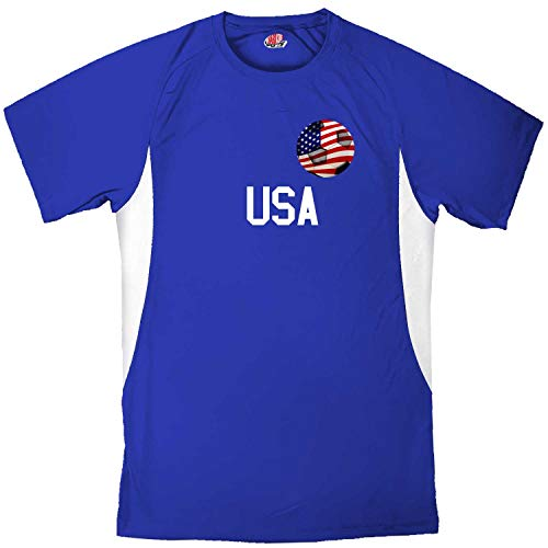 Custom USA Soccer Ball 1 Jersey Youth Medium in Royal Blue and White