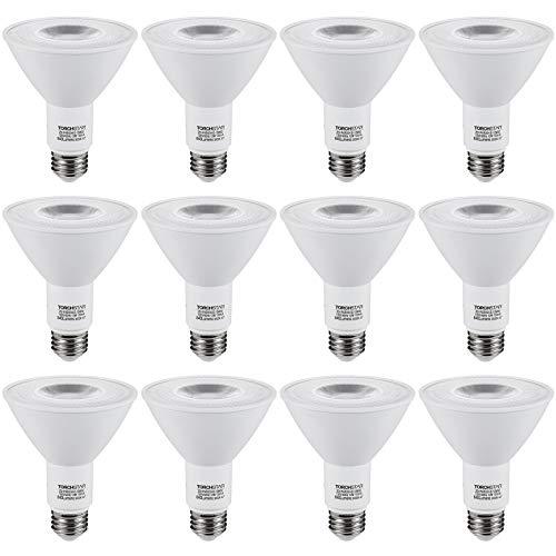 TORCHSTAR 12-Pack PAR30 Dimmable LED Spotlight Bulbs, Long Neck, CRI90+, 12W (75W Eqv.), UL & Energy Star Listed, E26 Standard Base, 840Lm, 3000K Warm White, for Recessed Trim Lighting, Track Light