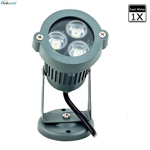 Elinkume Projecteur LED 3W Etanche Plongée Sous-marine IP65 Imperméable Blanc Froid (6000-6500K)