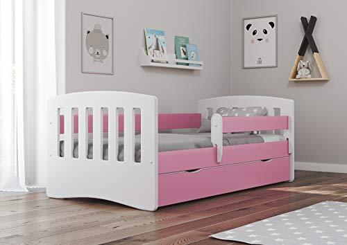 Bjird Kinderbett Jugendbett 80x160 80x180 Rosa mit Rausfallschutz Schublade und Lattenrost Kinderbetten für Mädchen und Junge - Classic I 160 cm