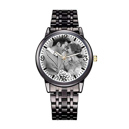 Personalized Graphic Photo Quartz Watch Stainless Steel Wrist Watches for Men Women Custom Any Photo Engrave Text On The Back (Mens-40mm, Black)