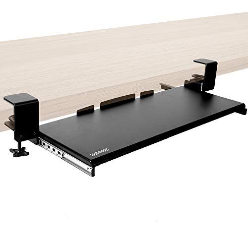 Duronic DKTPX1 Plataforma para Teclado y ratón para Mesa de Escritorio - Instalación por Pinza - Solución Ideal para Ahorrar Espacio – Tablero de partículas con Material Resistente Color Negro
