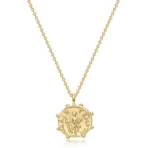 OSIANA Gold Coin Necklace for Women 18K Gold Plated Vintage Hammered Disc Paddy Greek Coin Pendant Necklace Lucky Charm Unique Elegant Protection Gift for Her
