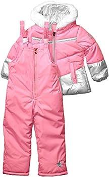 LONDON FOG Girls  Little Snowsuit with Snowbib and Puffer Jacket Unicorn Rose Gold Foil 5/6
