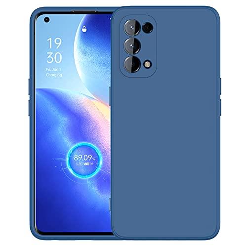 Cresee kompatibel mit Oppo Find X3 Lite 5G Hülle Hülle, Silikon Handyhülle mit [Kamera Schutz] [Faser-Innenraum] Anti-Scratch Dünn Schutzhülle Stoßfest Cover für Find X3 Lite, Blau