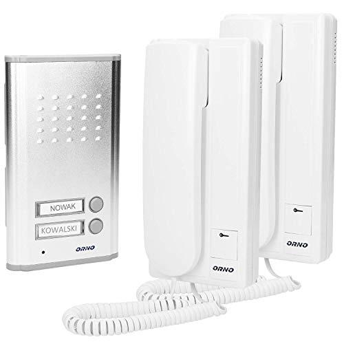 ORNO Fossa Multi Telefonillo Portero Automatico para Empotrar 2 Hilos, 230v Ac, Iluminación De Fondo De Apellidos