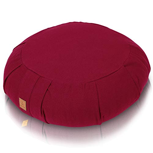 Seat Of Your Soul Meditation Cushion – 10 Colors Round Yoga Pillow; Zipper Organic Cotton Zafu Cover & Extra Liner to Adjust USA Buckwheat Hulls; Floor Pouf for Sitting Kids, Men or Women