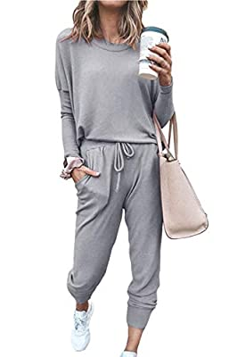 Meenew Women's Long Sleeve Workout Sets 2 Piece Sport Outfits Loungewear Gray M