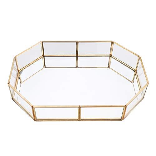 Organizadores de bandejas de cosméticos,polígono de vidrio dorado,almacenamiento de joyas cosméticas,placa con espejo para anillo,collar,lápiz labial,metal dorado decorativo para pastel