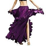 ROYAL SMEELA Falda de Danza del Vientre para Mujer Traje de Baile Volantes Flamenco Faldas de Gran Swing Mascarada Cintura elástica Ranura Alta Maxi Falda Completa Vestido