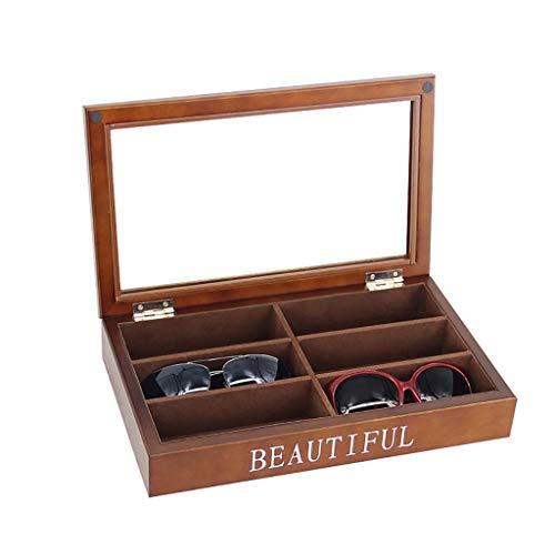 Holzbrillen Sonnenbrillen Organizer 6-Slot Glasses Display Storage Organizer Box