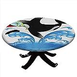 Mantel redondo y divertido, para verano, vacaciones, océano, linda ballena saltando con gafas de sol, animal, borde elástico, impermeable y lavable para mesas de hasta 44 pulgadas de diámetro