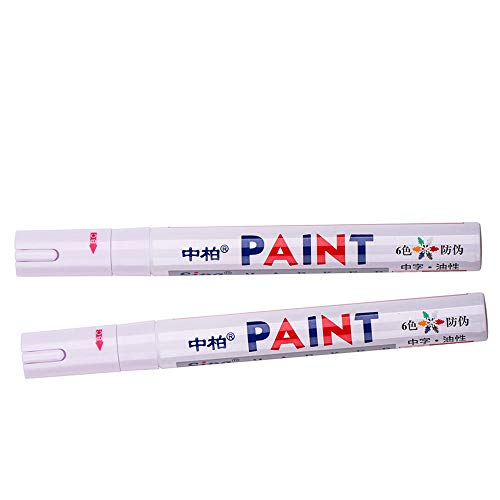 2× Universal Waterproof Permanent Paint Marker Pen Car Tyre Tire Tread Rubber Metal (White)