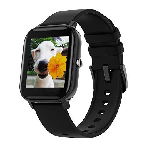 Reloj Inteligente LIGE con Monitor De Frecuencia Cardíaca, Pantalla Táctil De 1,4 Pulgadas, Rastreador De Actividad Física, Podómetro Impermeable IP67, Monitor De Sueño para Android iOS Negro