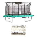 JumpKing 10x14 Foot Trampoline w/ Safety Net and Recreation Metal Anchor Kit