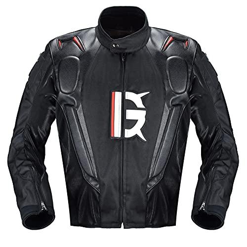 Chaqueta de Moto, Cuatro Estaciones Hombre Motocicleta Armadura De Equipo De Protección, Textil Impermeable Chaqueta para Motocicleta,Negro,XL