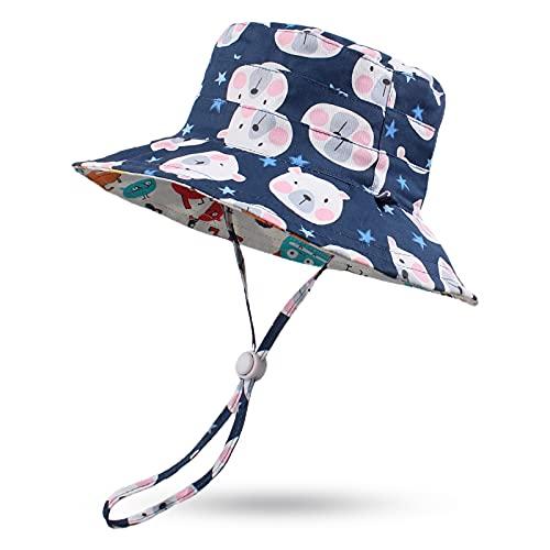 Pesaat Sombrero de Verano para bebé, para niños, Reversible, protección UV 50+ (Oso Marino, 2-4 años)