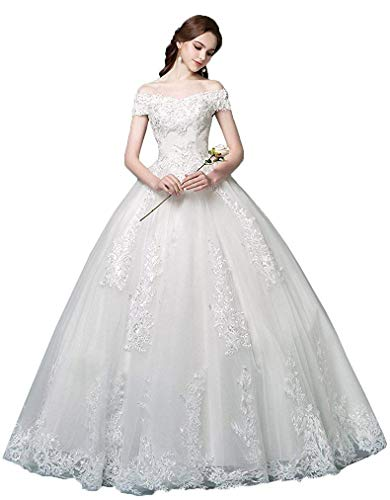 Princess Off The Shoulder Wedding Dresses Bridal Ball Gown 2019 Lace Applique Wedding Dresses for Bride 2020 Ivory 4