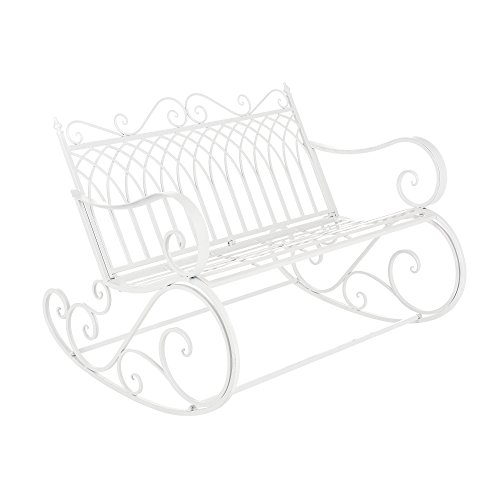 [en.casa] Panca a Dondolo da Giardino/Terrazza Panchina in Metallo per Uso Esterno in Stile Vintage Sedia a 2 Posti Oscillante - Bianco