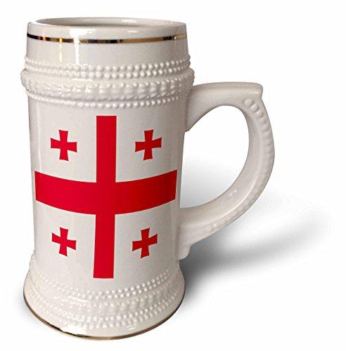 3dRose Flagge von Georgien – Georgisches rotes Jerusalem Kreuzritterkreuz auf weißem Hintergrund – Kreuzlets – St George – Welt – Stein Tasse, 510 ml (stn_158284_1), 625 ml