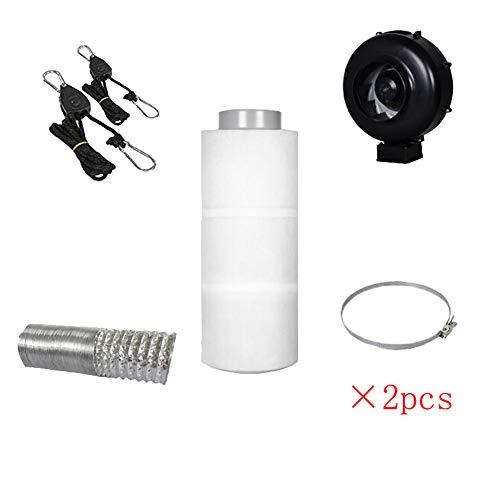 Hydroponics Complete Grow Room Tent Kit 600D - Fan Filter Kit - Spectrum Light Kit - 60 x 60 x 140cm Grow Tent(filtering system)