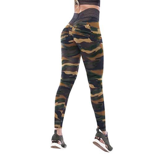MORCHAN Camouflage séance d'entraînement Leggings Fitness Sport Courir Yoga Pantalons athlétique de Femme(Vert/Medium)