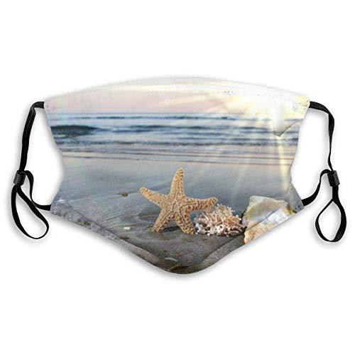 IUBBKI Muscheln Starfish Beach Surf Sky Mundabdeckung Unisex Wiederverwendbare waschbare Gesichtsabdeckung CreativeforFace Scarf Bandana mit Zwei Filtern