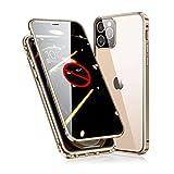 【最新グレードアップ版】iPhone12ProMax ケース アイフォン12プロマックス 対応 覗き見防止 カメラ保護 OURJOY 両面ガラス 360°全面保護 アルミバンパー マグネット スマホケース ・ゴールド