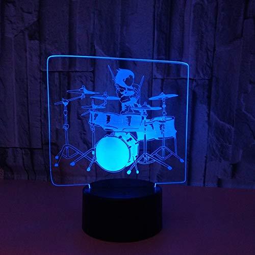 SXMXO 3D Schlagzeug Illusions LED Lampen Tolle 7 Farbwechsel Acryl berühren Tabelle Schreibtisch-Nachtlicht mit USB-Kabel für Kinder Schlafzimmer Geburtstagsgeschenke Geschenk,A