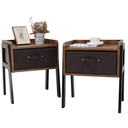 IWELL Nightstand Set of 2, End Table with 1 Drawer, Side Table for Small Space, Wood Bedside Table Set of 2 for Bedroom & Living Room, Simple Assembly, Rustic Brown