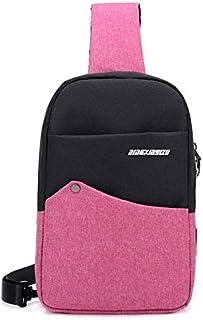 DIEBELLAU Fashion Color Chest Bag Unisex Oxford Cloth Small Bag Wear Shoulder Bag Shoulder Bag (Color : Pink)