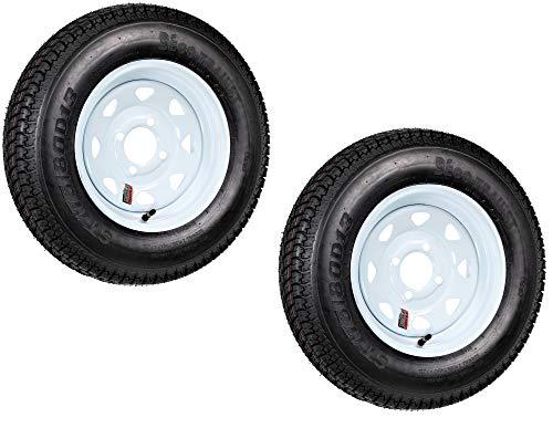 2-Pack Trailer Tire On Rim ST175/80D13 175/80 D 13 LRC 4 Lug White Spoke Wheel