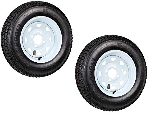 2-Pack Trailer Tire On Rim ST175/80D13 175/80 D 13 LRC 4 Lug White Spoke Wheel