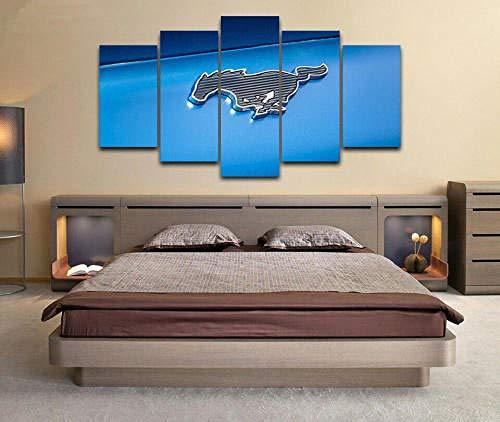 Cuadro sobre Impresión Lienzo 5 Piezas -Mural Moderno 5 Piezasford Mustang Logo Coche Moderno Murales Pared Hogar Decor con Marco Innovador Regalo