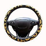 Zyy Dirección girasol cubierta de rueda, Accesorios linda y de dirección de cuero universal de la rueda cubierta del coche 38cm Moda