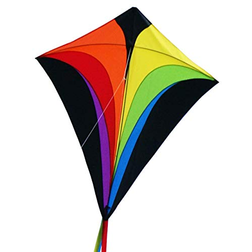 MIC CIM Large Kite for Kids - SUPER Kite Eddy XL Rainbow - Single line kite for children from 6 years up - 90x100cm - incl. kite line and striped tails