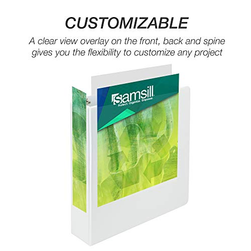 Samsill Earth's Choice Biobased Durable 3 Ring View Binder, 2 Inch Round Ring, Up to 25% Plant Based Plastic, USDA Certified Biobased, Eco-Friendly, Customizable Cover, White, 4 Pack (I08967) Photo #4