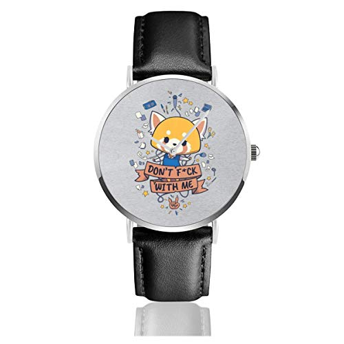 Unisex Business Casual Dont FCK with Me Aggretsuko Uhren Quarz Leder Armbanduhr mit schwarzem Lederband für Männer und Frauen Young Collection Geschenk