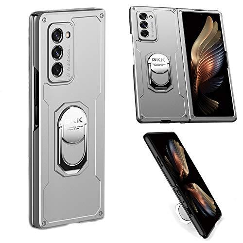 Coque Rigide Ultra-Mince pour PC Tout Compris Compatible pour Samsung Galaxy Z Fold 2 5G Housse de Protection avec Support à Anneau magnétique Rotatif à 360 °, étui Anti-Rayures Antichoc (Argent)