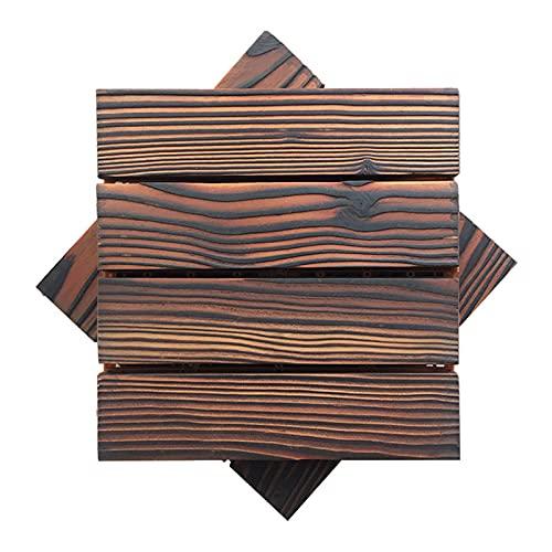Paquete De 2 Baldosas De Cubierta Entrelazadas, Baldosas De Madera Maciza Para Terrazas De 11.8 'X 11.8' Resistencia A La Corrosión Impermeable Se Puede Empalmar Con Bricolaje Para Interior, Exterior