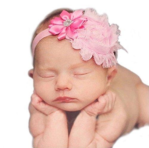 Unbekannt Haarband mit Blumen Tüll Strass Mädchen Baby Taufe Haarschmuck (Pink)