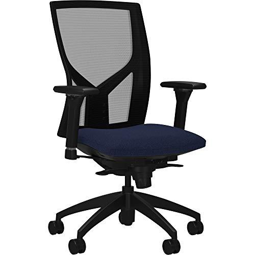 Lorell USA Seating Justice Chair, 47' x 26.3' x 25', Black, Dark Blue