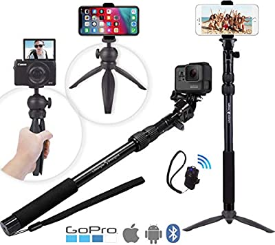 Rugged 4-in-1 Selfie Stick Tripod Stand Kit + Bluetooth Remote – Universal: Any iPhone, Android, GoPro or Camera – iPhone Xs Max XS XR X 8 7 6 Plus, Samsung S9 etc. by Lifestyle Designs