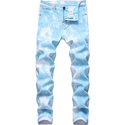 Beastle Jeans para Hombres Moda Slim-fit Pantalones Vaqueros Impresos Pintados de Pierna Recta Pantalones de Talla Grande Europeos y Americanos Tendencia 38
