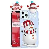 Yoedge Funda Compatible con Apple iPhone 11 Pro MAX 6,5'',con Dibujos Púrpura 3D Cartoon patrón Suave TPU Silicona Protectora Antigolpe Bumper Ultrafina Navidad Cover para iPhone11Pro MAX, Nieve