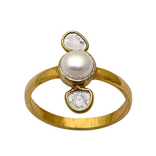 0.50 CTW Anillo de diamantes Polki, Anillo de perlas redondas finas de plata esterlina 925 con veremeil de oro de 14 quilates, anillo de promesa de diamantes hecho a mano (16)
