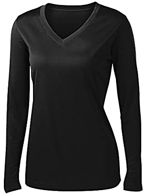 Animal Den Ladies Long Sleeve Moisture Wicking Athletic Shirts Sizes XS-4XL Black-XL